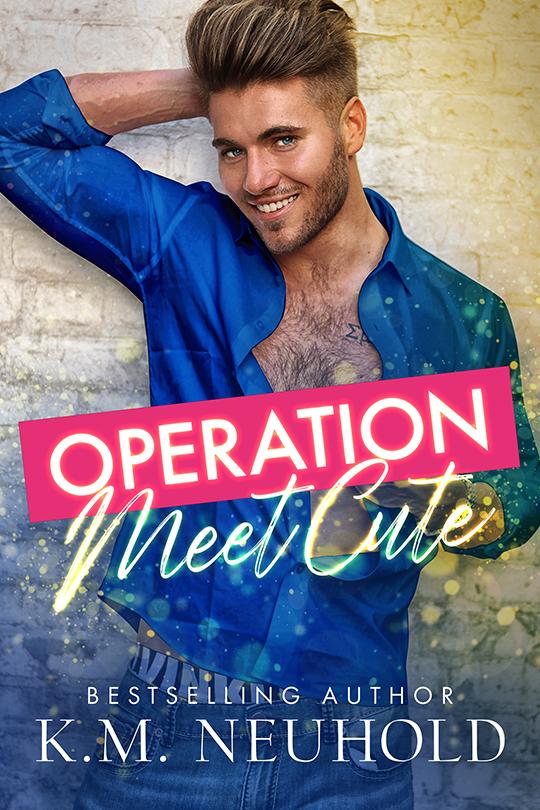 Operation Meet Cute by K.M. Neuhold, K.M. Neuhold gay romance author, Gus Caleb Smyrnios model, CJC Photography book cover photographer