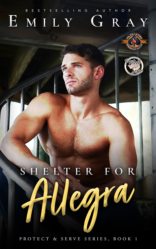 Shelter for Allegra by Emily Gray, Emily Gray romance author, Brock Grady model, CJC Photography book cover photographer