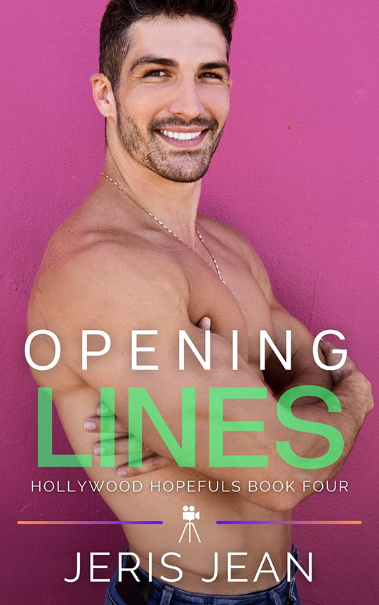 Opening Lines by Jeris Jean, Jeris Jean gay romance author, Dominic Calvani model, CJC Photography book cover photographer